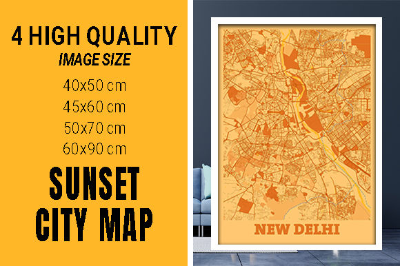 New Delhi - India Sunset City Map Grafik Fotos von pacitymap