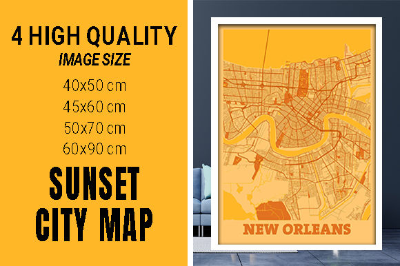 New Orleans - Louisiana Sunset City Map Grafik Fotos von pacitymap