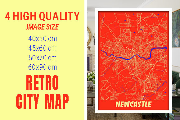 Newcastle - United Kingdom Retro City Gráfico Fotografías Por pacitymap