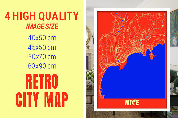 Nice - France Retro City Map Gráfico Fotografías Por pacitymap