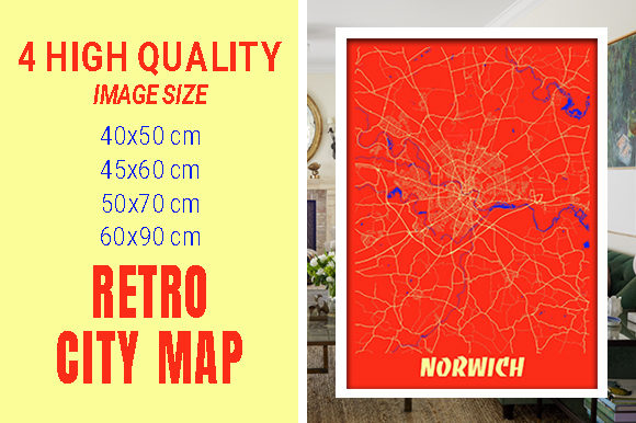 Norwich - United Kingdom Retro City Map Gráfico Fotografías Por pacitymap