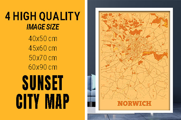 Norwich - United Kingdom Sunset City Map Grafik Fotos von pacitymap