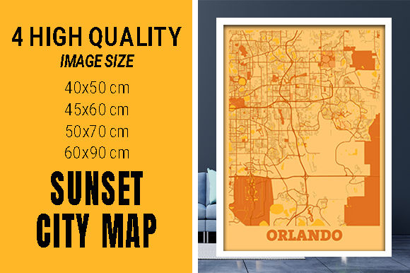 Orlando - United States Sunset City Map Grafik Fotos von pacitymap