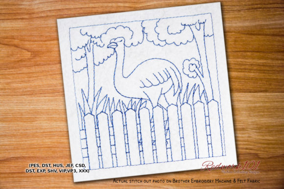 Ostrich Bird Birds Embroidery Design By Redwork101