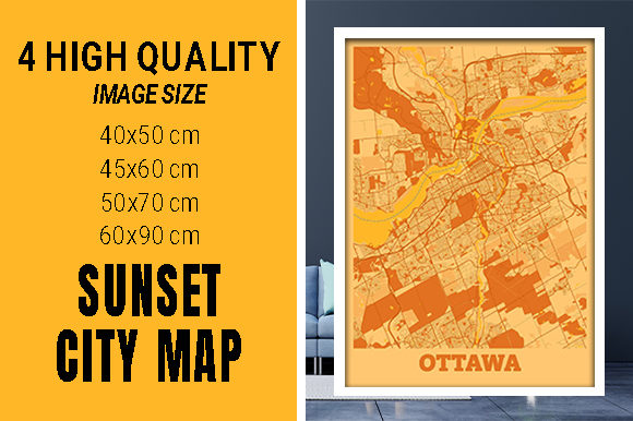 Ottawa - Ontario Sunset City Map Grafik Fotos von pacitymap