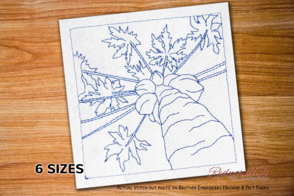 Papaya Tree Lineart Food & Dining Embroidery Design By Redwork101