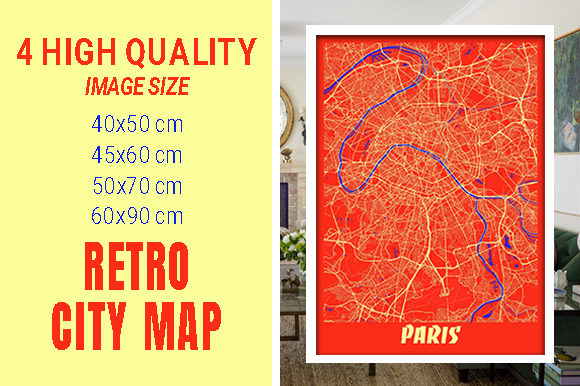 Paris - France Retro City Map Gráfico Fotografías Por pacitymap