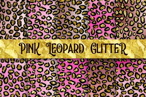 Pink Leopard Glitter Digital Papers Graphic Backgrounds By PinkPearly