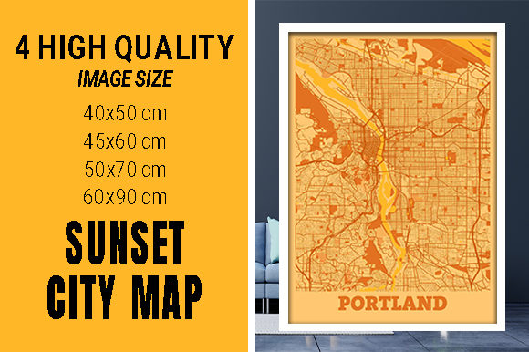 Portland - United States Sunset City Map Grafik Fotos von pacitymap