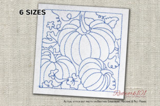 Pumpkins with Leafs Bluework Halloween Embroidery Design By Redwork101