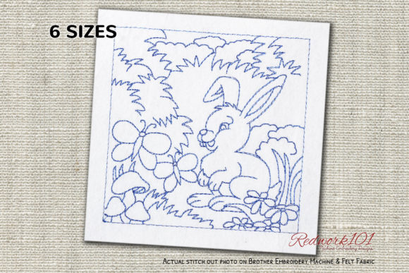 Rabbit with Butterflies Redwork Baby Animals Embroidery Design By Redwork101