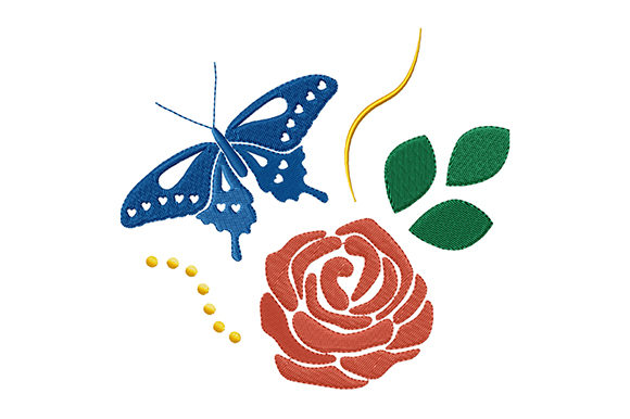 Print on Demand: Red Rose and Blue Butterfly Single Flowers & Plants Embroidery Design By EmbArt