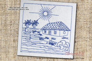 River with House Cities & Villages Embroidery Design By Redwork101