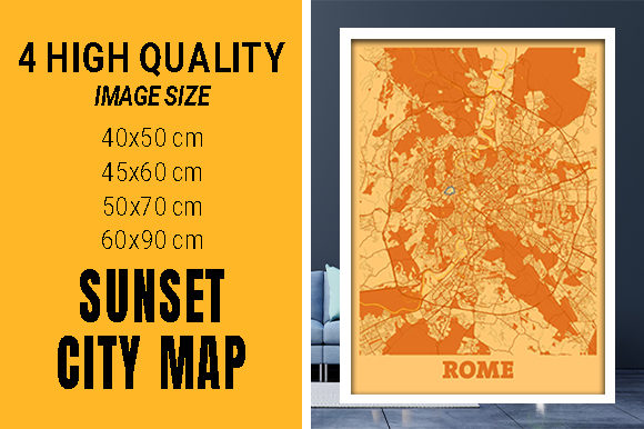 Rome - Italy Sunset City Map Grafik Fotos von pacitymap