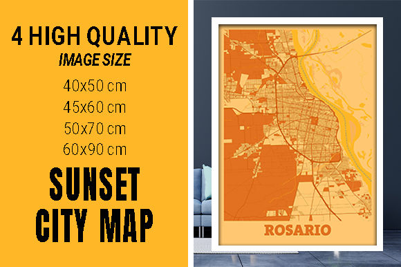 Rosario - Argentina Sunset City Map Grafik Fotos von pacitymap