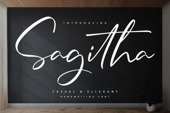 Print on Demand: Sagitha Script & Handwritten Font By Vunira