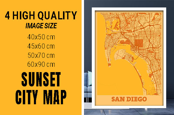 San Diego - United States Sunset City Grafik Fotos von pacitymap