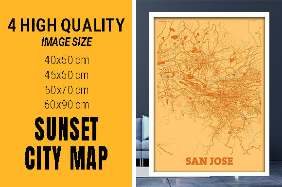 San Jose - Califonia Sunset City Map Grafik Fotos von pacitymap