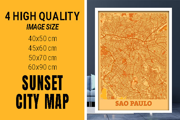 Sao Paulo - Brazil Sunset City Map Grafik Fotos von pacitymap