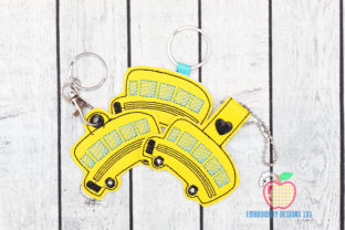 School Bus ITH Keyfob Transportation Embroidery Design By embroiderydesigns101