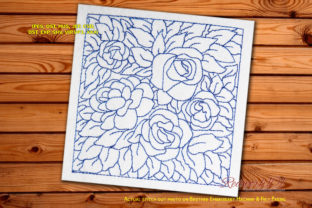 Seamless Rose Flower Pattern Redwork Bouquets & Bunches Embroidery Design By Redwork101
