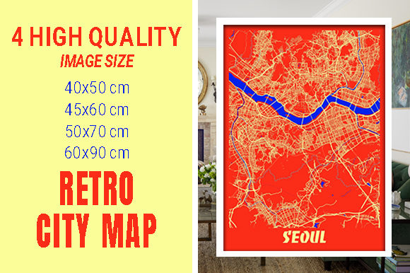 Seoul - South Korean Retro City Map Gráfico Fotografías Por pacitymap