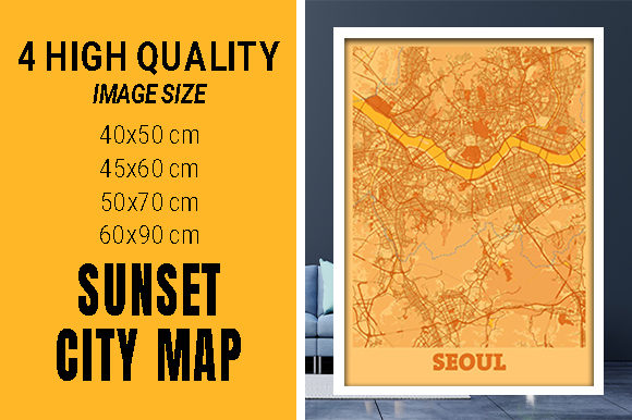 Seoul - South Korean Sunset City Map Grafik Fotos von pacitymap