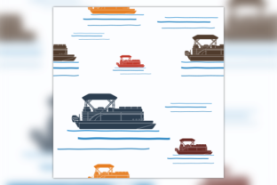 Side View Pontoon Boat Seamless Pattern Graphic Patterns By faqeeh