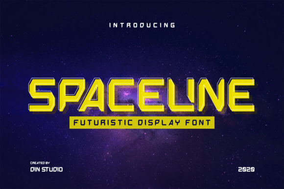 Print on Demand: Spaceline Display Schriftarten von Din Studio