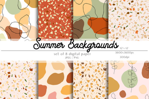 Print on Demand: Summer Digital Paper Set Graphic Patterns By Alisha Gronska