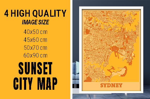 Sydney - Australia Sunset City Map Grafik Fotos von pacitymap