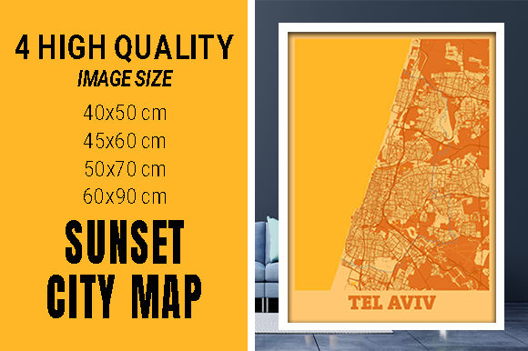 Tel Aviv - Israel Sunset City Map Grafik Fotos von pacitymap