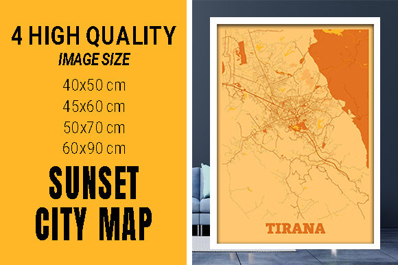 Tirana - Albania Sunset City Map Grafik Fotos von pacitymap