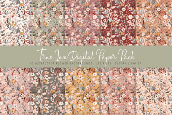 Print on Demand: True Love Watercolor Flowers Pack Graphic Patterns By Jennadesigns