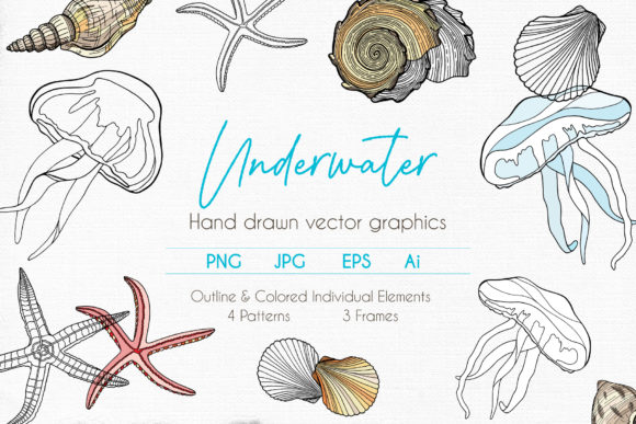 Underwater Vector Clipart Collection Graphic Illustrations By Olya Haifisch