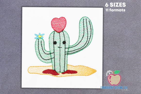 Valentine Cactus with Heart Sketch Valentine's Day Embroidery Design By embroiderydesigns101