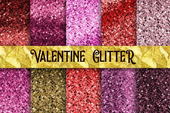 Valentine Glitter Digital Papers Graphic Backgrounds By PinkPearly