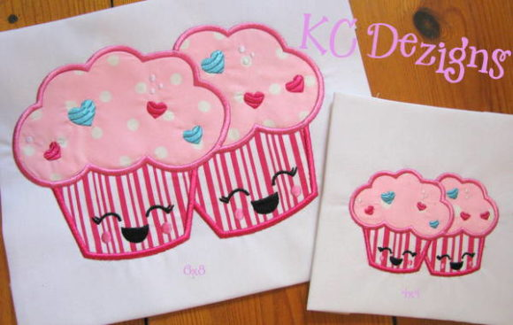 Valentine Love Pair Cupcakes Applique Valentine's Day Embroidery Design By karen50