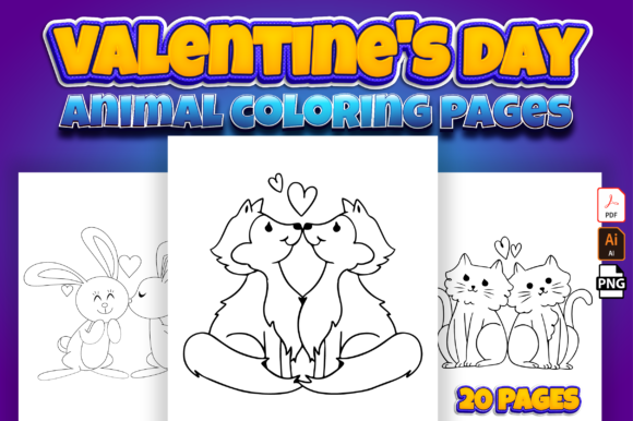 Valentine's Day Animal Coloring Book Graphic