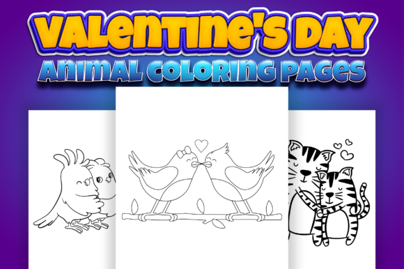 Valentine's Day Animal Coloring Book Graphic Item
