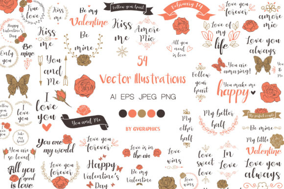 Valentine's Day Calligraphy and Roses Ve Graphic Illustrations By GVGraphics