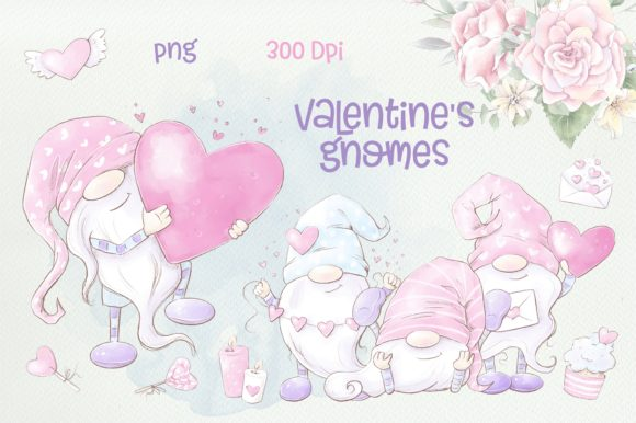 Print on Demand: Valentine's Gnomes Clipart Graphic Illustrations By nicjulia