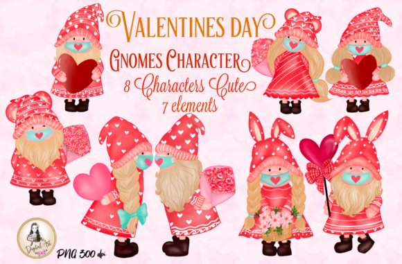 Print on Demand: Valentines Gnomes Characters Clipart Graphic Illustrations By Suda Digital Art