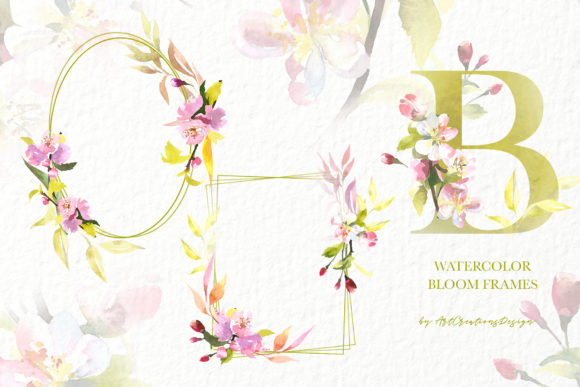 Watercolor Blooming Frames Design Set Graphic Illustrations By artcreationsdesign