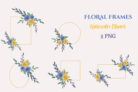Watercolor Blue Yellow Floral Frames Graphic Illustrations By roosmom