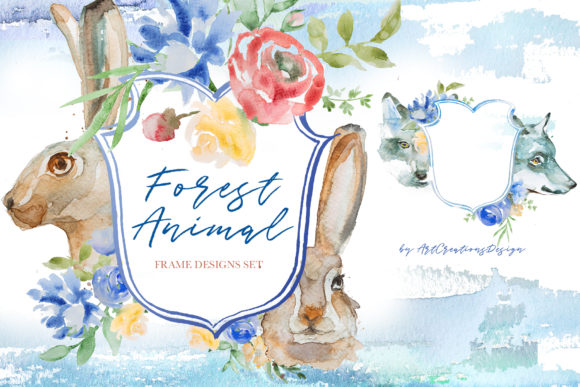 Watercolor Forest Animals Frame Designs Graphic Illustrations By artcreationsdesign
