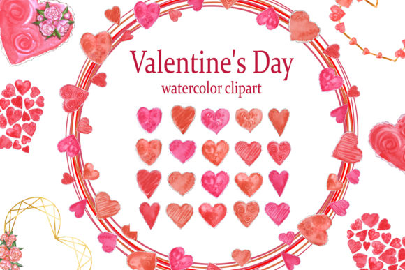Watercolor Heart Clipart.Valentine's Day Graphic Add-ons By EvArtPrint