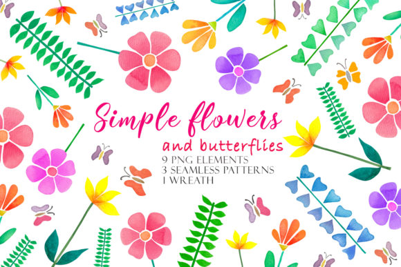 Print on Demand: Watercolor Simple Flowers Gráfico Ilustraciones Por TanyaPrintDesign