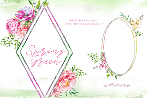 Watercolor Spring Green Frames Designs Graphic Illustrations By artcreationsdesign