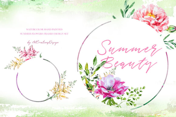 Watercolor Summer Beauty Frames Designs Graphic Illustrations By artcreationsdesign